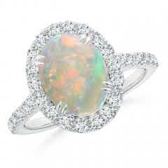 Double Claw-Set Oval Opal Halo Ring with Diamonds