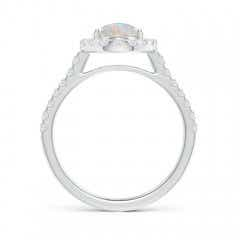 Toggle Double Claw-Set Oval Opal Halo Ring with Diamonds