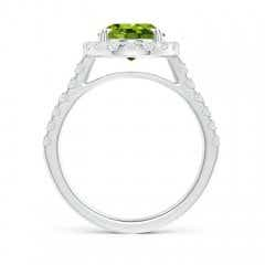 Toggle Double Claw-Set Oval Peridot Halo Ring with Diamonds