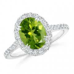 Double Claw-Set Oval Peridot Halo Ring with Diamonds