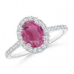Double Claw-Set Oval Pink Tourmaline Halo Ring with Diamonds