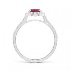 Toggle Double Claw-Set Oval Pink Tourmaline Halo Ring with Diamonds