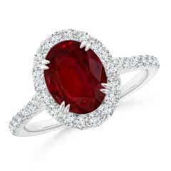 Double Claw-Set GIA Certified Oval Ruby Halo Ring