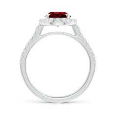 Toggle Double Claw-Set GIA Certified Oval Ruby Halo Ring