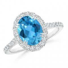 Double Claw Oval Swiss Blue Topaz Halo Ring with Diamond Accents