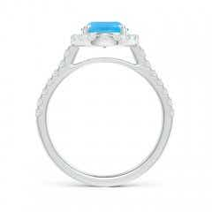Toggle Double Claw-Set Oval Swiss Blue Topaz Halo Ring with Diamonds