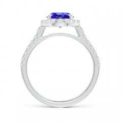 Toggle Double Claw-Set Oval Tanzanite Halo Ring with Diamonds