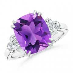 Solitaire Cushion Cut Amethyst Ring with Trio Diamonds