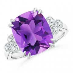 Cushion Amethyst Ring with Trio Bezel Diamonds