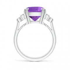 Toggle Cushion Amethyst Ring with Trio Bezel Diamonds