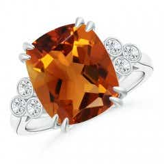 Cushion Citrine Ring with Trio Bezel Diamonds