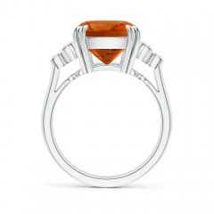 Toggle Cushion Citrine Ring with Trio Bezel Diamonds
