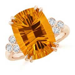 GIA Certified Cushion Citrine Ring with Trio Bezel Diamonds