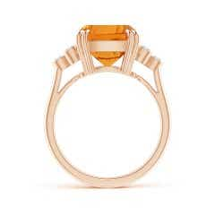 Toggle GIA Certified Cushion Citrine Ring with Trio Bezel Diamonds