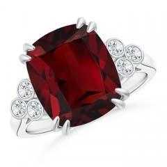 Cushion Garnet Ring with Trio Bezel Diamonds