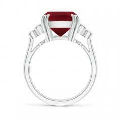 Toggle Cushion Garnet Ring with Trio Bezel Diamonds