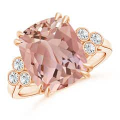 Cushion Morganite Ring with Trio Bezel Diamonds