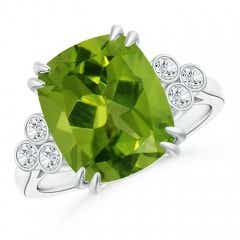 Cushion Peridot Ring with Trio Bezel Diamonds