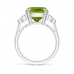 Toggle Cushion Peridot Ring with Trio Bezel Diamonds