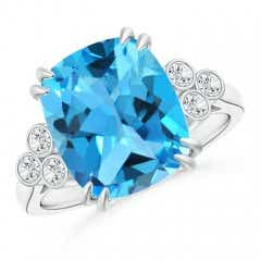 Solitaire Cushion Cut Swiss Blue Topaz Ring with Trio Diamonds