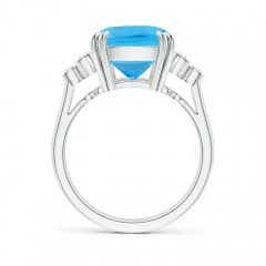 Toggle Cushion Swiss Blue Topaz Ring with Trio Bezel Diamonds