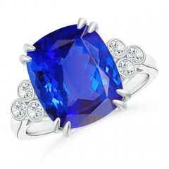 Cushion Tanzanite Ring with Trio Bezel Diamonds