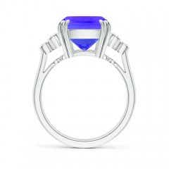Toggle Cushion Tanzanite Ring with Trio Bezel Diamonds