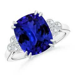 GIA Certified Cushion Tanzanite Ring with Trio Bezel Diamonds