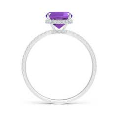 Toggle Thin Shank Cushion Cut Amethyst Ring With Diamond Accents