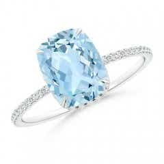 Thin Shank Cushion Cut Aquamarine Ring With Diamond Accents
