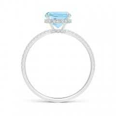 Toggle Thin Shank Cushion Cut Aquamarine Ring With Diamond Accents