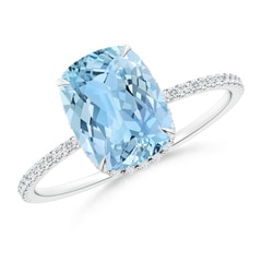Thin Shank Cushion Cut Aquamarine Ring With Diamond Accents