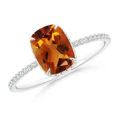 Thin Shank Cushion Cut Citrine Ring With Diamond Accents