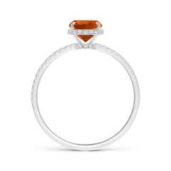 Toggle Thin Shank Cushion Cut Citrine Ring With Diamond Accents