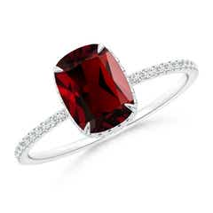 Thin Shank Cushion Cut Garnet Ring With Diamond Accents