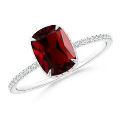 Thin Shank Cushion Cut Garnet Ring With Diamond Accents