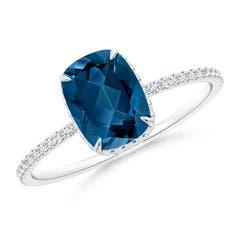 Thin Shank Cushion London Blue Topaz Ring with Diamonds