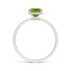 Toggle Thin Shank Cushion Cut Peridot Ring With Diamond Accents
