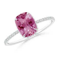 Thin Shank Cushion Cut Pink Tourmaline Ring With Diamond Accents