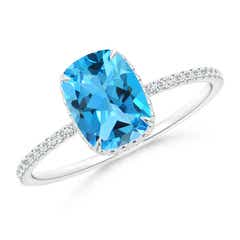 Angara Semi Bezel Dome Swiss Blue Topaz Ring with Diamond Accents zb2GpKSWIi
