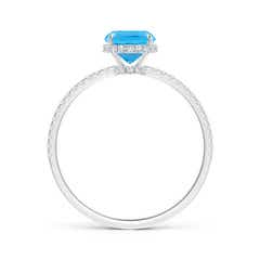 Toggle Thin Shank Cushion Swiss Blue Topaz Ring With Diamond Accents