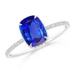 Thin Shank Cushion Cut Tanzanite Ring With Diamond Accents