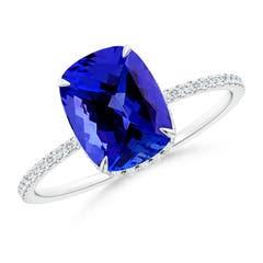 Thin Shank Cushion Cut Tanzanite Ring With Diamond Accents