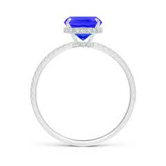Toggle Thin Shank Cushion Cut Tanzanite Ring With Diamond Accents