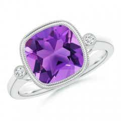 Bezel Set Cushion Amethyst Ring with Milgrain Detailing