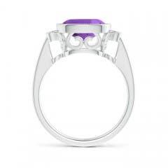 Toggle Bezel Set Cushion Amethyst Ring with Milgrain Detailing