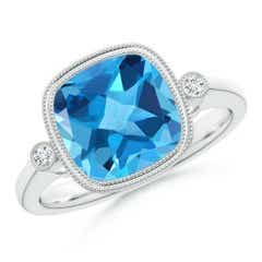 Bezel Set Cushion Swiss Blue Topaz Ring with Milgrain Detailing