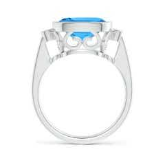 Toggle Bezel Set Cushion Swiss Blue Topaz Ring with Milgrain Detailing