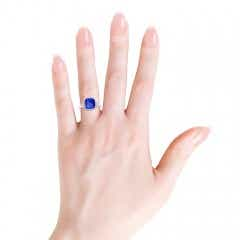 Bezel Set Cushion Tanzanite Ring with Milgrain Detailing
