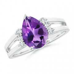 Solitaire Pear Amethyst Ring With Triple Diamond Accents